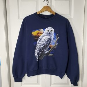 Navy Blue Owl Graphic Crewneck Sweatshirt